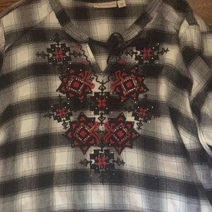 NWOT Darling BOHO Flannel checked top